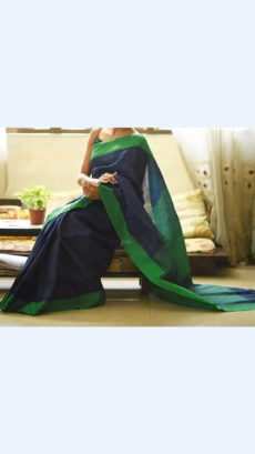 Dark Violet Linen Saree with Green Border