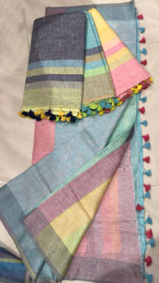 Plain patterned Multicolor Linen Saree with Striped Pallu-yespoho