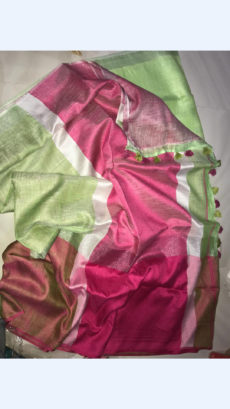 Plain Pista green Linen Saree with Pink Border-yespoho