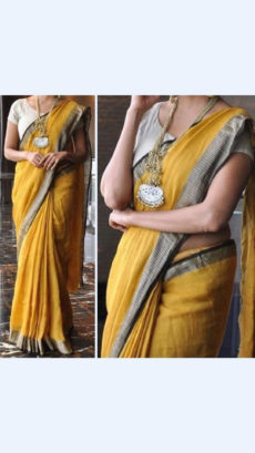 Yellow Linen Saree with Plain Pallu perfect for occassion-yespoho
