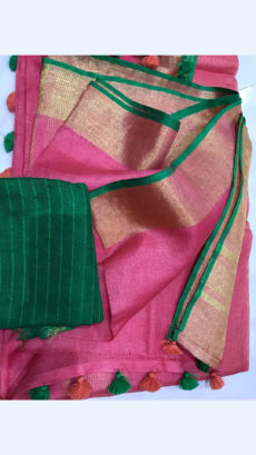 Pink Linen Saree with Plain Pallu
