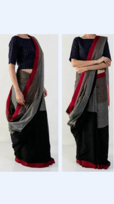 Black And Grey Linen Saree With Maroon Border-yespoho