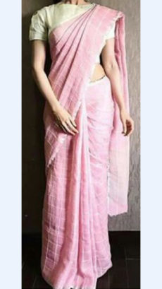 Baby Pink Linen Saree with Silver Border