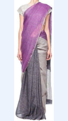 Lavender and Grey Linen Saree