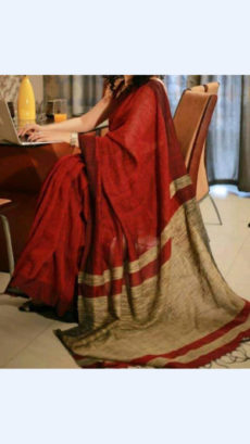 Maroon Linen Saree with Golden Border-yespoho