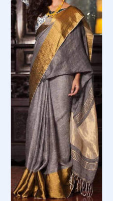 Plain patterned Brownish Grey Linen Saree with Striped Pallu-yespoho