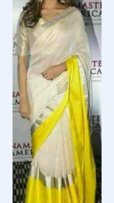 Plain White Linen Saree