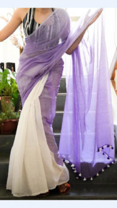 Lavender Linen Saree with Plain Pallu perfect for occassions-yespoho