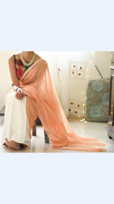 Peach and White Linen Saree with Borderless-yespoho