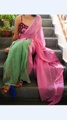 Green and Pink Linen Saree with Borderless-yespoho