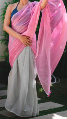 Light Grey and Pink Linen Saree with Borderless-yespoho