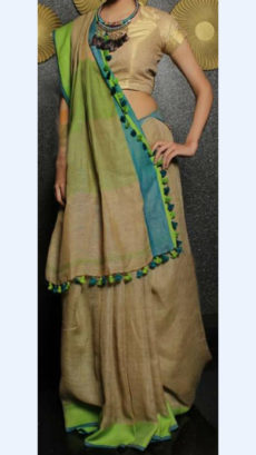 Brown Linen Saree with Plain Pallu