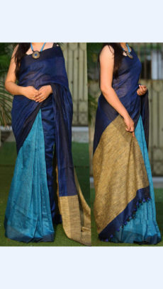 Plain Dark blue and Sea Blue Linen Saree
