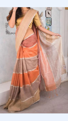 Light Brown, Light Peach and Orange Linen Saree with Thin golden border-yespoho