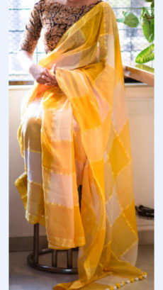 Mango yellow and white Linen Saree