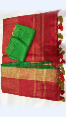 Striped patterned Red Linen Saree with Striped Pallu-yespoho