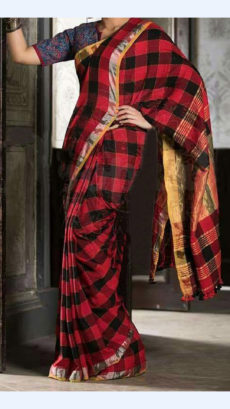 Red And Black Checks Linen Saree with Striped and Checks Pallu-yespoho