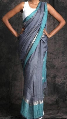 Plain patterned Greyish Teal Linen Saree with Plain Pallu-yespoho