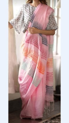 Light pink Linen Saree