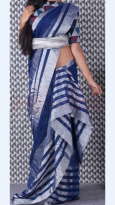Dark blue Linen Saree with Silver Border-yespoho