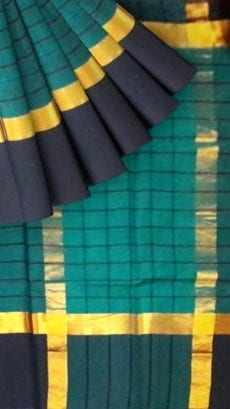 Striped Dark Teal Blue Cotton Saree with Charcoal Black and Golden Border-yespoho