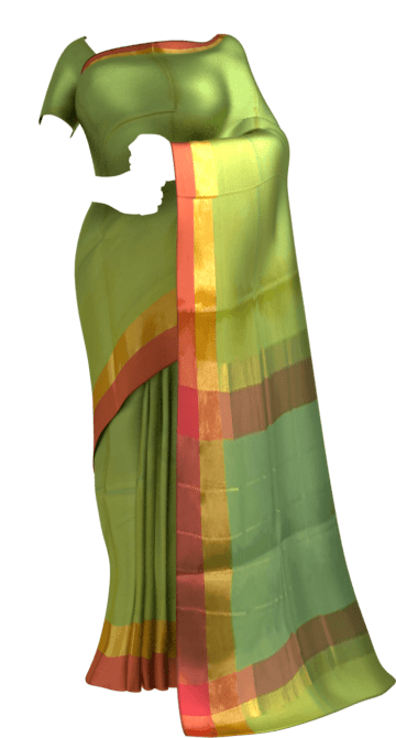 Shop Light Moss Green Cotton Saree with Brick Red and Golden Border Online