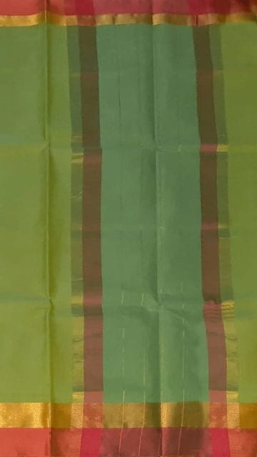 Brick Red Light Moss Green Cotton Saree with Brick Red and Golden Border