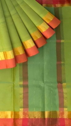 Light Moss Green Cotton Saree with Brick Red and Golden Border-yespoho