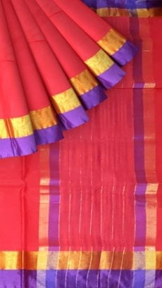 Bright Red Cotton Saree with Dark Purple and Golden Border-yespoho
