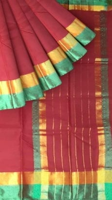 Dark Pink Cotton Saree with Light Jade Green and Golden Border-yespoho