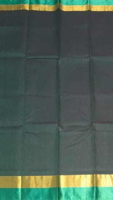 Yespoho Dark Bluish-Grey Cotton Saree with Light Jade Green and Golden Border