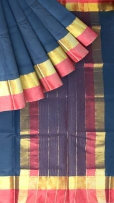 Space Blue Cotton Saree with Dark Pink and Golden Border-yespoho