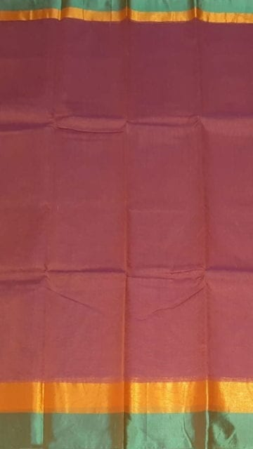 Yespoho Dark Onion Pink Cotton Saree with Light Jade Green and Golden Border