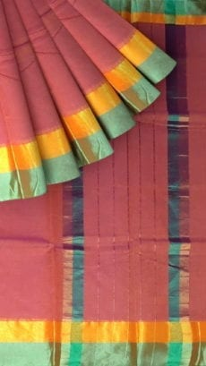 Dark Onion Pink Cotton Saree with Light Jade Green and Golden Border-yespoho