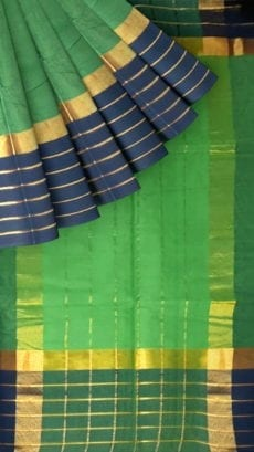 Hunter Green Cotton Saree with Prussian Blue and Golden Border-yespoho