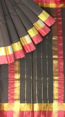 Coal Black Cotton Saree with Dark Pink and Golden Border-yespoho