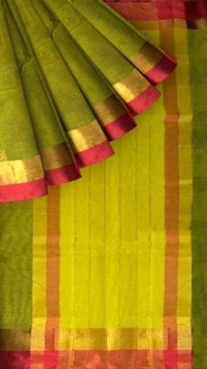 Olive Green Cotton Saree with Dark Pink and Golden Border-yespoho