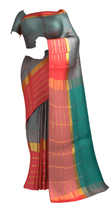 Shop Pigeon Blue Cotton Saree with Bright Pink and Golden Border Online