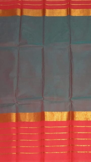 Yespoho Pigeon Blue Cotton Saree with Bright Pink and Golden Border