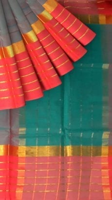 Pigeon Blue Cotton Saree with Bright Pink and Golden Border-yespoho