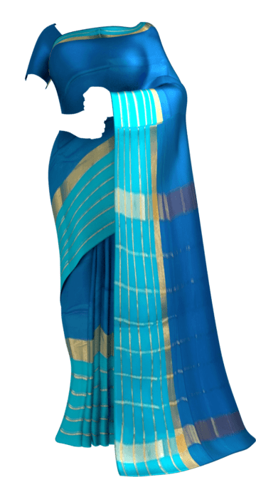 Shop Bright Blue Cotton Saree with Light Blue and Golden Border Online