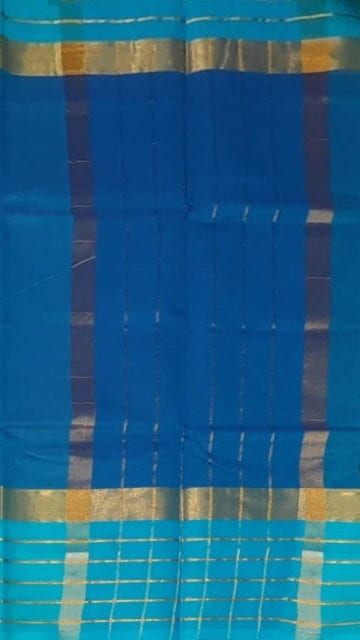 Bright Blue Bright Blue Cotton Saree with Light Blue and Golden Border