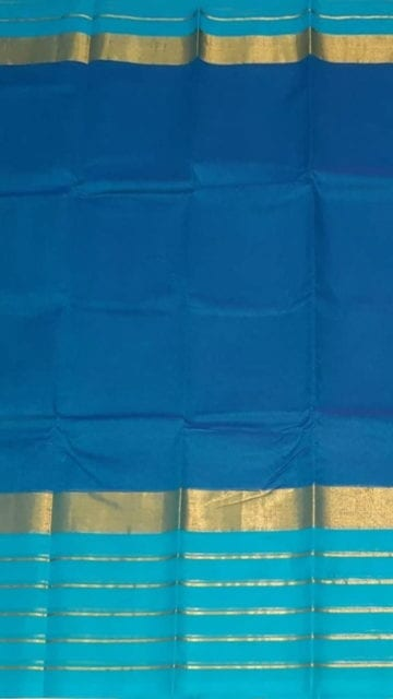 Yespoho Bright Blue Cotton Saree with Light Blue and Golden Border