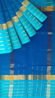 Bright Blue Cotton Saree with Light Blue and Golden Border-yespoho