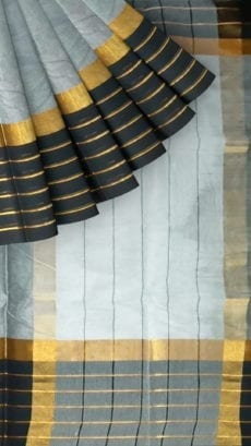 Grey Cotton Saree with Black and Golden Border-yespoho