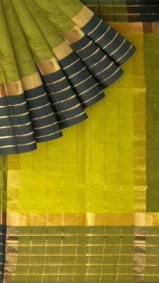 Light Green Cotton Saree with Black and Golden Border-yespoho