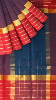 Navy Blue Cotton Saree with Red and Golden Border-yespoho