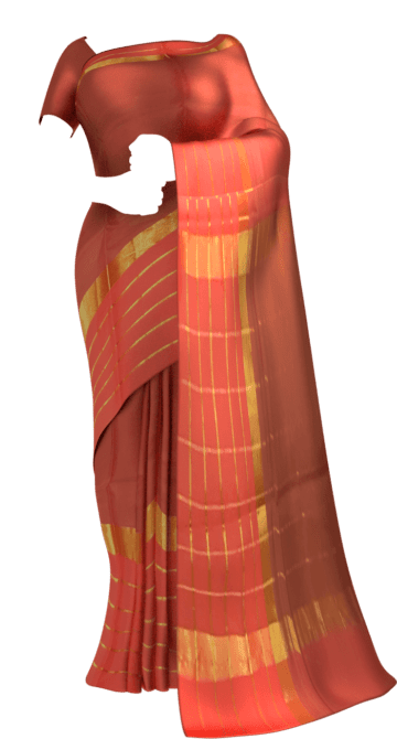 Shop Brick Red Cotton Saree with Bright Pink and Golden Border Online