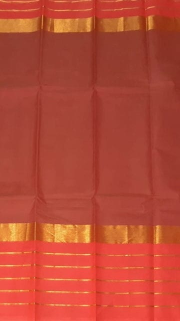 Yespoho Brick Red Cotton Saree with Bright Pink and Golden Border