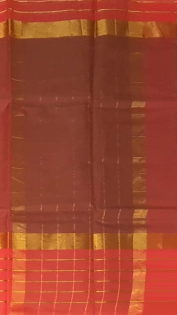 Brick Red Brick Red Cotton Saree with Bright Pink and Golden Border